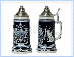 german beer stein with pewter lid