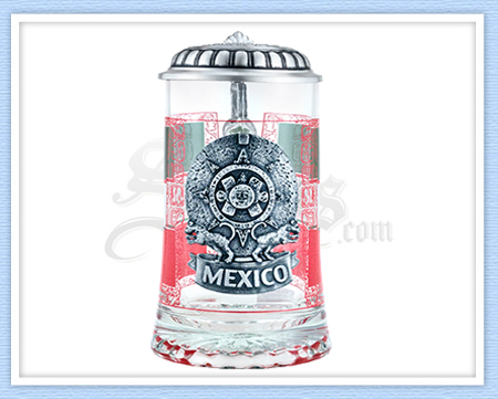 Glass Mexican Flag Steins