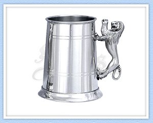 Lion Handle Pewter Tankard